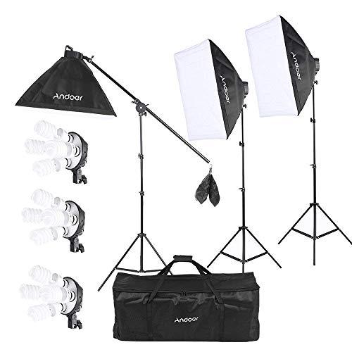 Andoer Softbox Kit de Iluminación, Kit de Estudio Fotográfico Profesional Light 5500K con 12 * 45W Photolamps, 3 * 2m Tripodes Luz, 3 * Softbox 50x70cm, 3 * 4 en 1 Base, 1* Brazo articulado, 1 * Bolsa de Transporte