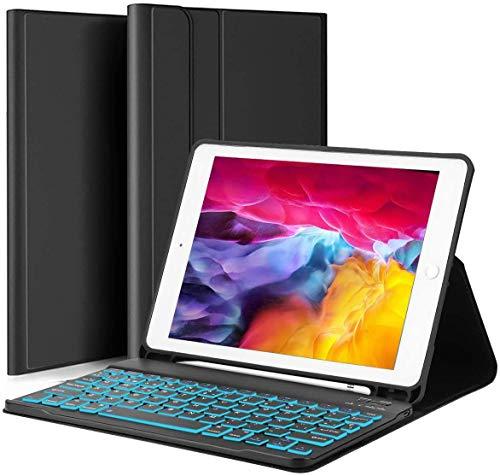 YOMYM Funda con teclado para iPad 10.2 (7ª generación)- iPad Pro 10.5 (Air 3) - Retroiluminación de 7 colores, teclado inalámbrico magnéticamente desmontable - Funda tipo libro para iPad de 10.2 pulgadas (con retroiluminado)