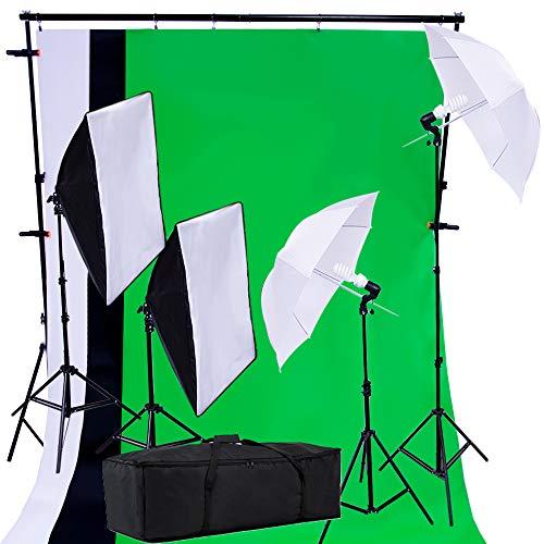 PRO SYSTEM AUDIOTEK Kit Set Fotográfico Estudio Profesional Fotografía Video Pantallas Cicloramas Sombrillas Softbox Lamparas Iluminación Excelente Calidad