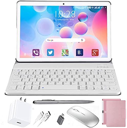 Tablet 10 Pulgadas Android 10.0 - DUODUOGO Tableta 4GB RAM 64GB ROM con 8 núcleos 1.6 GHz   WiFi   Bluetooth   GPS   MicroSD 4-128 GB, con Estuche para Teclado/Mouse/Funda de Tablet (Rosa)