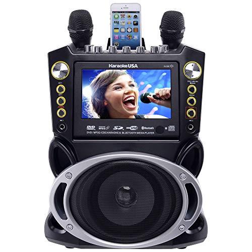 Karaoke USA - Sistema de karaoke (portátil, negro, 47 x 34,5 x 27,2 cm)