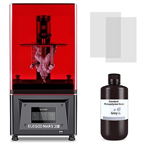 ELEGOO Impresora 3D Mars 2 Pro, MSLA Impresora 3D de resina UV con pantalla LCD mono 2K de 6.1 pulgadas, impresión rápida y alta precisión, volumen de construcción de 5.1x3.1x6.3 pulgadas