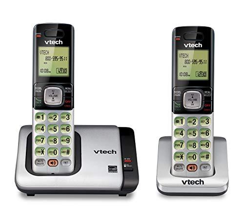 Teléfono Vtech DECT 6.0 con base para identificación de llamadas y llamada en espera, Plateado/Negro