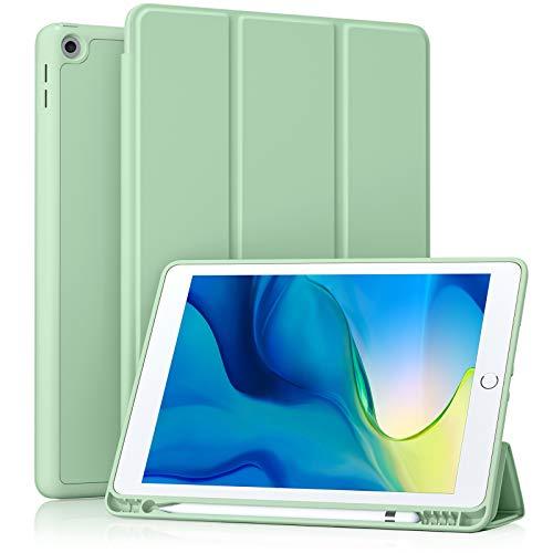 Akkerds - Funda para iPad 10.2 2020 iPad 8.ª generación/2019 iPad 7.ª generación con soporte para lápiz, funda protectora de alta calidad con parte trasera de TPU suave, funda de encendido/apagado automático para iPad 8./7.ª generación.
