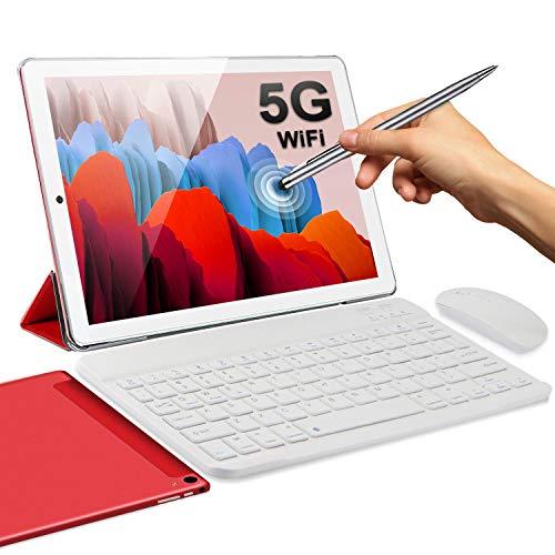 Tablet 2 en 1 Android 10.0 de 10 pulgadas, 5 G, doble WiFi, tabletas con teclado de 4 GB de RAM, 64 GB de ROM, 128 GB, Quad Core 1.6 GHz, Bluetooth, 6000 mAh, tipo C, Google GMS certificado Tablet PC