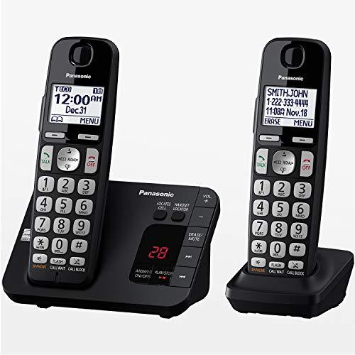 Panasonic Dect 6.0 Sistema de teléfono inalámbrico expandible con contestadora y Bloqueo de Llamadas, 2 audífonos - KX-TGE432B, Negro