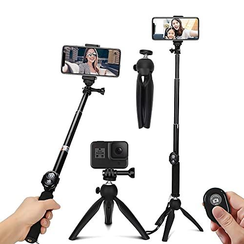 TXG Selfie Trípode Bluetooth, Palo Selfie Trípod con Control Remoto, Trípode para Celular 360°Rotación Extensible Selfie Stick Inalámbrico para Android y iOS y Otros Celular Inteligentes