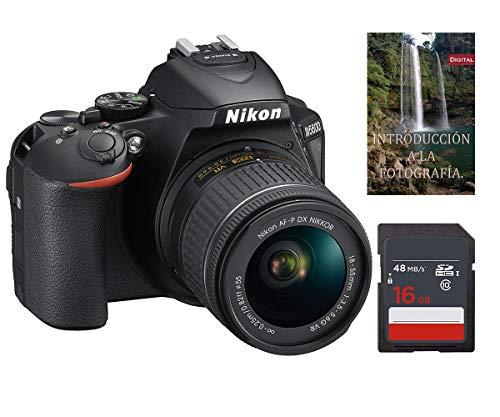 Cámara Nikon D5600 AF-S DX 18-55mm f/3.5-5.6G ED VR + Tarjeta de Almacenamiento SDHC de 16Gb UHS-I, Negro.