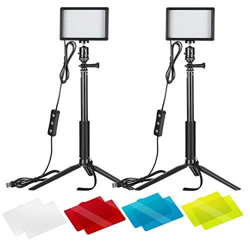 Neewer - Paquete de 2 luces de video LED USB regulables de 5600 K con soporte de trípode ajustable y filtros de color para sobremesa / tomas de ángulo bajo, zoom / iluminación de videoconferencia / transmisión de juegos / fotografía de video de YouTube