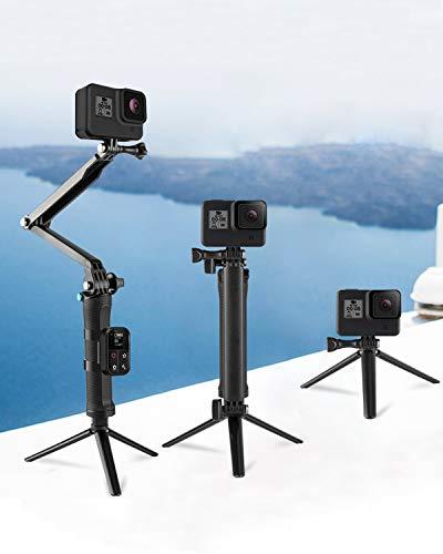 IFORU SelfieStickGoPro Plegable 3 Etapas, Palo Selfie para GoPro con Trípode Oculto, Monopod Estabilizador GoPro Hero 8/7/6/5/4/3, Fusion/Session/dji/OSMO Action/Sargo A8/Xiaomi Yi y Celular