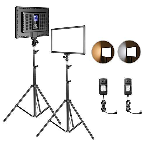 Neewer 2-Pack Kit de Iluminación de Video LED : (2) 192 LED Panel de Luz de Video Suave con Soporte de Luz de 75 Pulgadas, Batería de Litio Incorporada 3200K-6500K