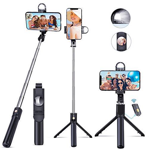 EMAGIE Tripie para Celular Selfie Stick Bluetooth Trípode para Móvil de 360°Rotación Extensible Palo Selfie con Control Remoto para Android iOS GoPro y Otros Celulares Inteligentes