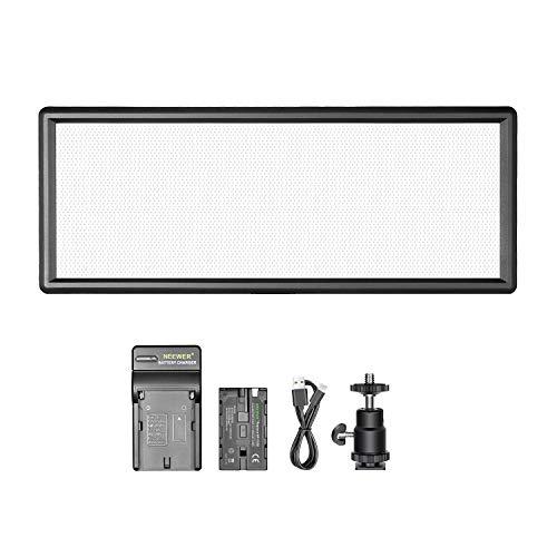 Neewer Super Fino Bi-Color Regulable LED Video Luz con Pantalla LCD, 2600mAh Li-Ion Bateria y Cargador - Panel Ultra Alta Potencia LED, 3200K-5500K para Cámara Foto Estudio Retrato Video Fotografía