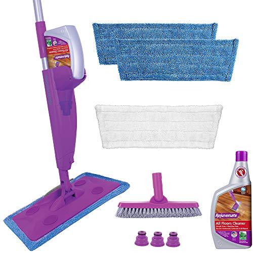 Rejuvenate Click N Clean Sistema de mopa en spray MultiSurface Kit completo incluye cepillo de lechada ClickOn Pro Gratis x 32 oz NoBucket limpiador de piso con 3 almohadillas de microfibra reutilizables, morado, 1 unidad