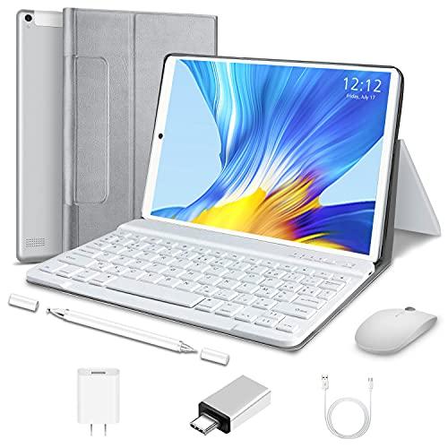 Tableta 2 en 1 de 10 pulgadas Android 10.0 Tablets, 4 GB RAM 64 GB ROM Tablet PC con teclado ratón, 13 MP Dual SIM 4G /WiFi, 8000 mAh, GPS, Bluetooth, Google Certified Tablet