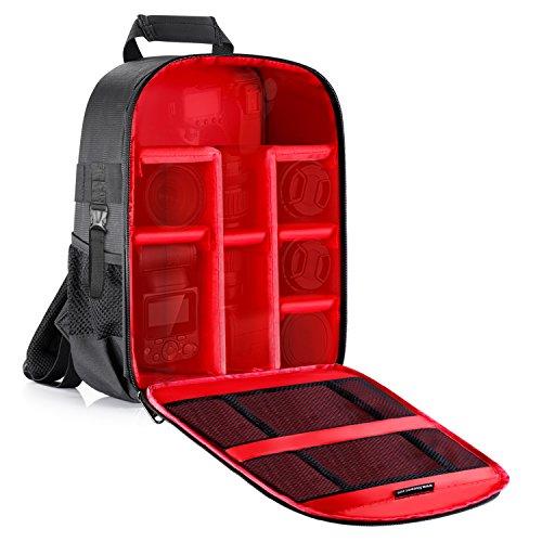 Neewer - Mochila impermeable para cámara de fotos, 46.18 x 20.81 x 55.26 centímetro, interior de color rojo, para Canon, Nikon, Sony, Olympus, Pentax, sin espejo y lentes, baterías y cargadores, cables y más