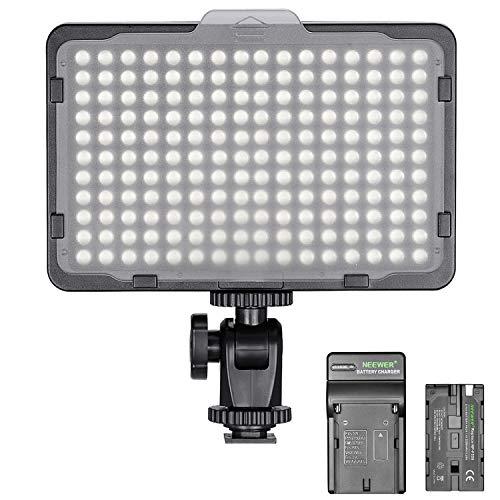 Neewer Regulable 176 LED Video Luz en Cámara Panel LED con 2200mAh Batería Ion Litio y Cargador para Canon, Nikon, Samsung, Olympus y Otras Cámaras Réflex Digitales para Foto Estudio Video Fotografía