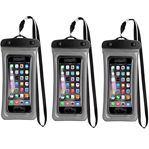 3 Unidad Funda Impermeable para Celular, 3 Pack Funda Flotante Bolsa Impermeable Sumergible para Movil como iPhone XS XR X 8 7 Plus 6 6s SE 5S 5C, Samsung Galaxy S10 S9 S8 S7 Edge S6, Huawei P20, P20 Pro, P10, P9, P8, HTC, LG, Sony, Nokia, Motorola