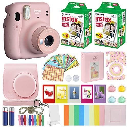 Cámara instantánea Fujifilm Instax Mini 11 + paquete de accesorios MiniMate + paquete de película Fuji Instax (40 hojas), paquete de accesorios, filtros de color, álbum, marcos (rosa rubor, embalaje estándar)