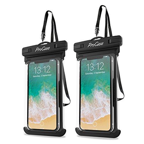 Procase 2 Fundas Impermeables para Celulares como iPhone 12 Mini/Pro MAX/SE 2020/X/8 7 Plus/6S/6/6S Plus, Galaxy S20/S20+/S20 Ultra 5G/S9/S8 Plus/Note Smartphone Móviles hasta 7