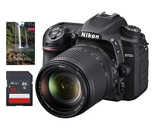 Cámara Nikon D7500 AF-S DX 18-140mm f/3.5-5.6G ED VR (Formato DX, 20.9mpx, ISO 100-51,200, 4K UHD a 30p/25p/24p) + Tarjeta de Almacenamiento SDHC de 16Gb UHS-I