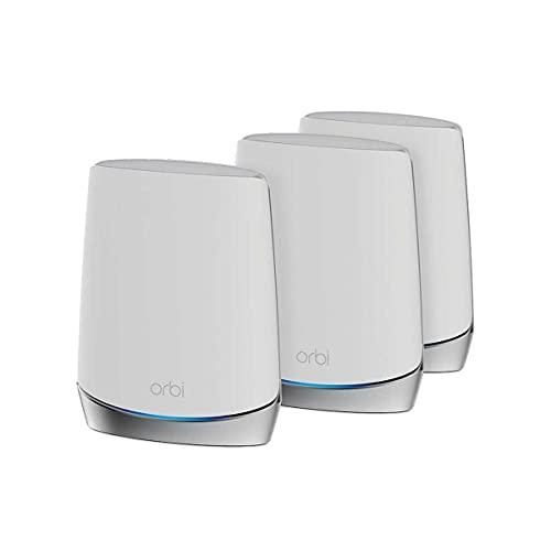 NETGEAR Orbi RBK753S - Sistema WiFi de malla para todo el hogar, 3 unidades, incluye 1 router y 2 satélites, color blanco