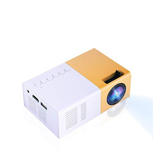 Serounder Video Mini Proyector HD, LED para Cine en Casa 4K TV Soporte para Proyector de películas Teléfono portátil 1080P / HDMI/VGA/USB/TV Box/Laptop/DVD para al Aire Libre(Amarillo + Blanco)
