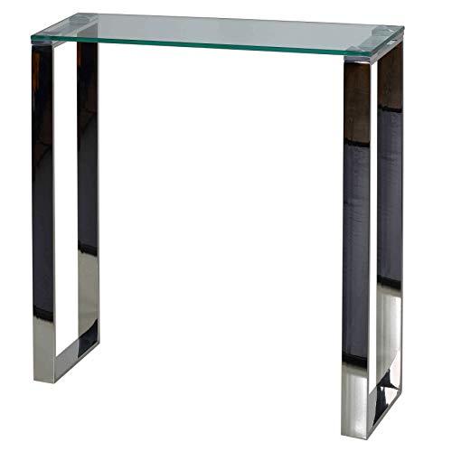 Cortesi Home Forli - Consola de Entrada pequeña con Acabado de Cristal y Acero Inoxidable, 71 cm de Ancho