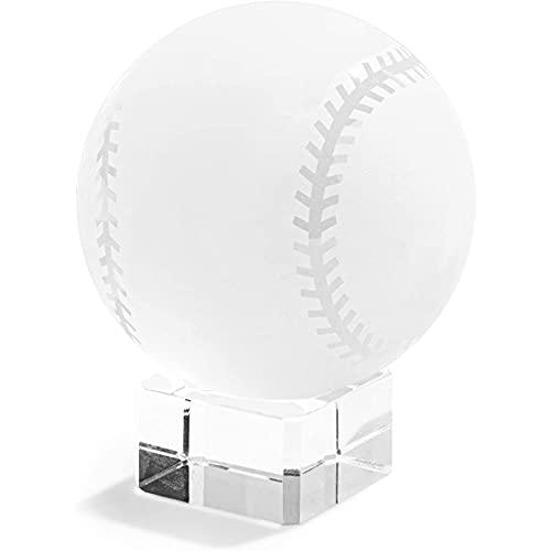 Pisapapeles de vidrio de béisbol con soporte para computadora o mesa (2,3 pulgadas)