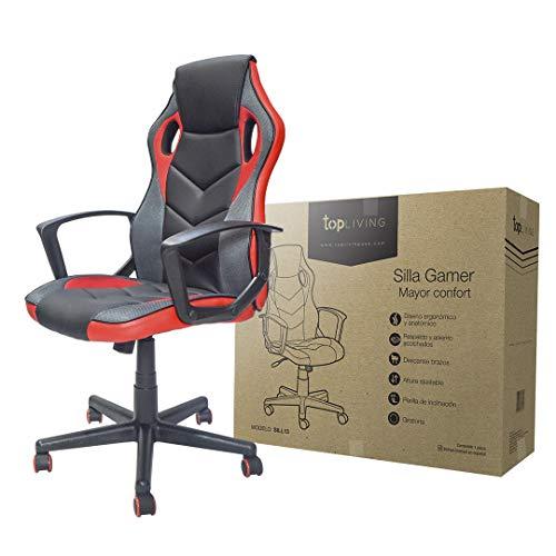 TOPLIVING Silla Gamer Silla Oficina Ergonomica Ideal para Juegos Comoda (Rojo)