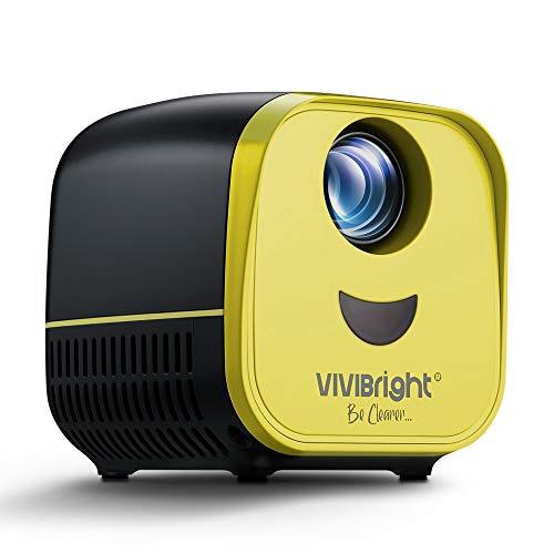 VIVIBRIGHT Pico LED proyector L1 compatible con Full HD 1080P, proyector portátil de bolsillo compatible con PC, portátil, USB, tarjeta TF, apto para cine en casa, películas, juegos