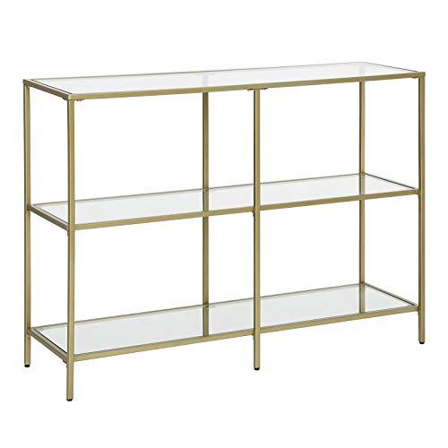 VASAGLE ULGT27G - Mesa de sofá con 3 estantes, 39.4 x 11.8 x 28.7 pulgadas, marco de metal, estante de vidrio templado, estilo moderno, para entrada, sala de estar, dormitorio, color dorado