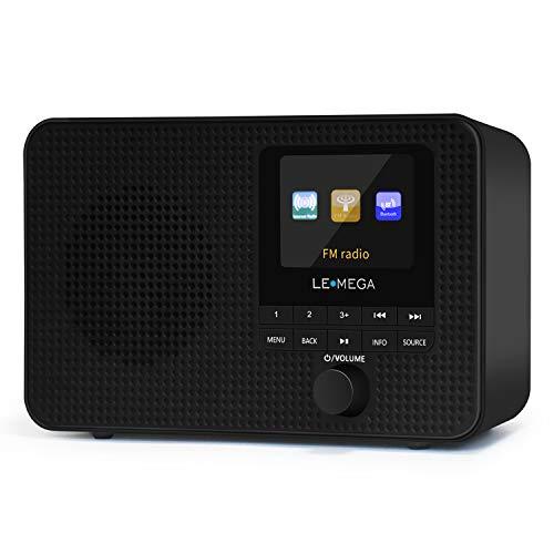 LEMEGA IR1 Radio portátil por Internet, radio digital FM, WiFi, Bluetooth, doble alarma y reloj, temporizador de cocina/sueño/repetición, 40 preconfiguraciones, salida de auriculares, pantalla a color, alimentación eléctrica y pilas AA, color negro