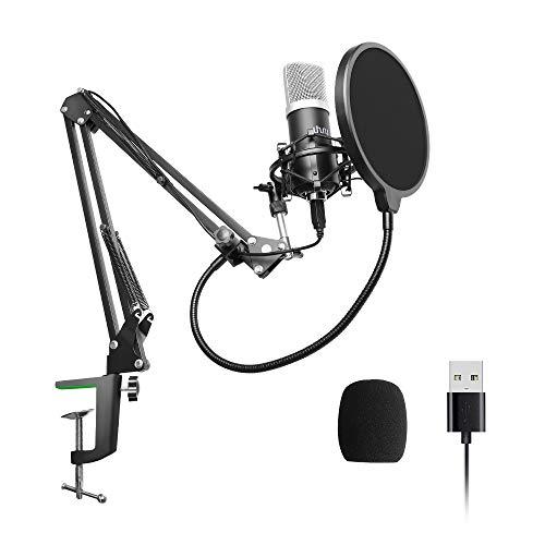 Microfono de Condensador USB Podcast 192kHZ / 24bit, UHURU Kit de Micrófono Cardioide de Transmisión de PC Profesional con Brazo Articulado, Araña de Choque, para Streaming, Grabación, Gaming,YouTube