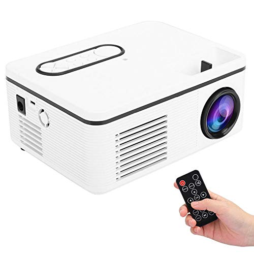 Mini proyector de video, 1080P Multimedia Home Cinema Theater HD LED Proyector de películas con contraste 1000: 1 para computadora de escritorio/DVD/teléfono móvil/consola de juegos/altavoz(Blanco)
