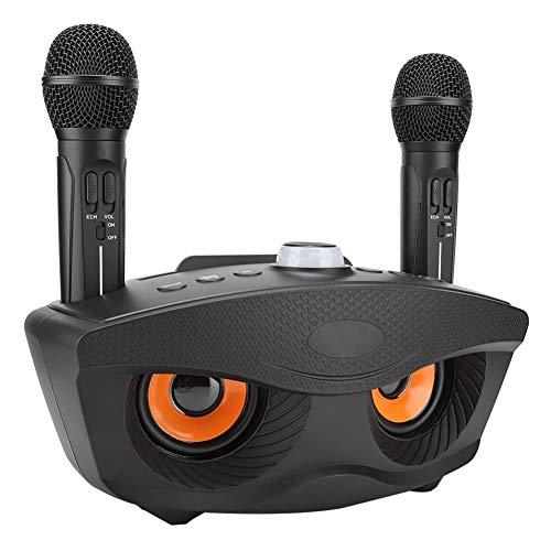 Bewinner Micrófono Inalámbrico Karaoke Altavoz Portátil de Karaoke para Fiesta en casa/KTV Handheld Micrófono Bluetooth Inicio KTV Altavoz de Karaoke con Dos micrófonos(Negro)