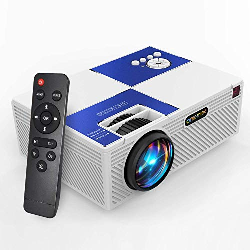 ONE·MIX Mini Proyector,Portátil vídeo-Projector, Multimedia Home Theater Movie Projector,Compatible with Full HD 1080P HDMI,VGA,USB,AV,Laptop,Smartphone