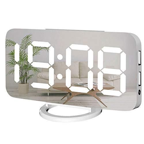 Miowachi Reloj Despertador Digital, Reloj LED de Espejo Grande, números Grandes, luz Nocturna Tenue, 2 Puertos USB, despertadores de Escritorio para decoración de Dormitorio (Blanco)
