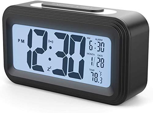 DEKITA Reloj Despertador Digital, Despertadores Electrónicos con Función Snooze,Temperatura, 12/24 H, ℉/℃, Reloj de Alarma Digital Mesilla Dormitorio Oficina Cocina para Ancianos Alarm Clock