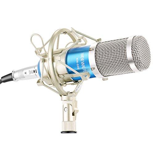 Neewer NW-800 Micrófono de Condensador Profesional Incluye(1)NW-800 Mic de Condensador Profesional(1)Montaje de Choque(1)Casquillo Tipo de Bola de Espuma Anti-Viento(1)Cable de Alimentación(Azul)