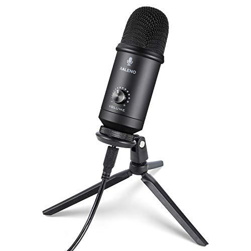 RaLeno - Micrófono USB para ordenador con chip Hi-Fi, micrófono cardioide de metal completo, SNR profesional de 78 dB, compatible con ordenadores, para grabación de audio, Skype, juegos, chat de voz