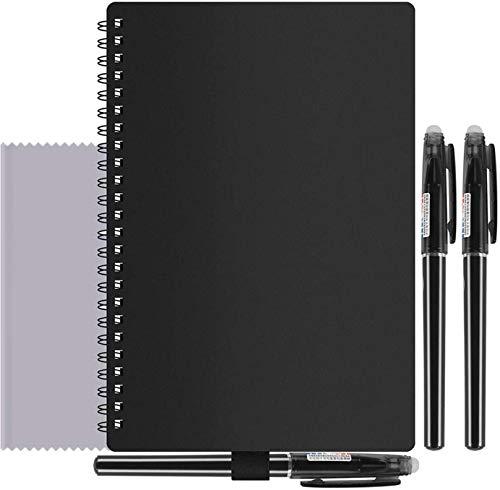 Cuaderno Inteligente, A5 Cuaderno borrable 100 páginas, Borrado con Agua y con Calor, Sube Archivos y Anotaciones a la Nube, Incluye 3 Plumas y Tela de microfibra