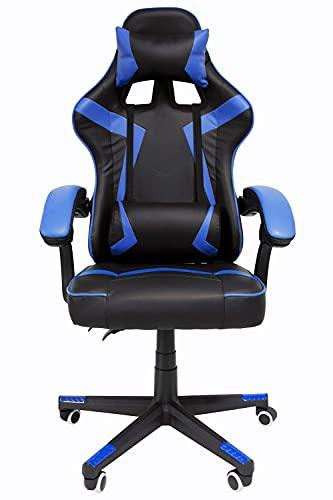 Audiotek Pro System Silla Gamer Ergonomica Reclinable Vinil Resitente Colores Gaming Chair Cojin Lumbar (Azul) Excelente Calidad Premium Computadora Pc Computo