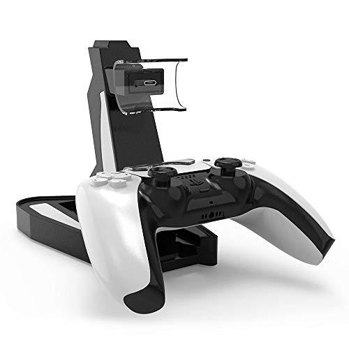 Cargador para Controles de Playstation 5 (PS5) con Base y Soporte, Estación de carga PS5 con Dos puertos USB C, Base de Carga Rápida USB Dual para Sony Playstation 5 Dualsense