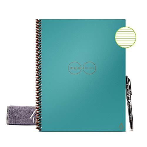 Rocketbook - Cuaderno reutilizable con forro ecológico y 1 bolígrafo Pilot Frixion y 1 paño de microfibra incluido, Neptuno Verde azulado, Carta