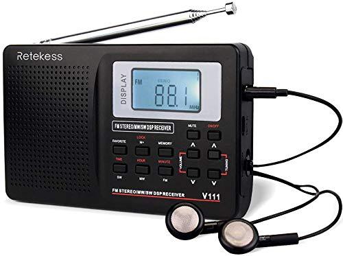 Retekess V111 radio am fm portatilde onda corta,radio am fm digital recargable AA con pilas, radio personal con tecla favorita y reloj despertador para viajes (negro)
