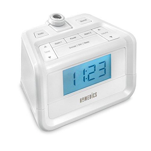 Radio digital FM con alarma doble, proyección de tiempo, 8 sonidos relajantes de la naturaleza, pantalla LED, alarma múltiple, repetición, temporizador de sueño, luz nocturna, reloj de techo, SoundSpa Homedics