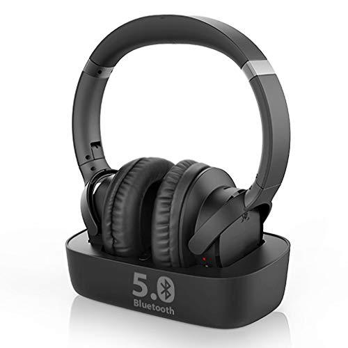 Avantree Ensemble - Auriculares inalámbricos para ver TV con transmisor Bluetooth 5.0 y base de carga (AUX RCA), auriculares sobre la oreja para personas mayores, 35 horas de tiempo de reproducción de audio, Plug n Play, sin demora