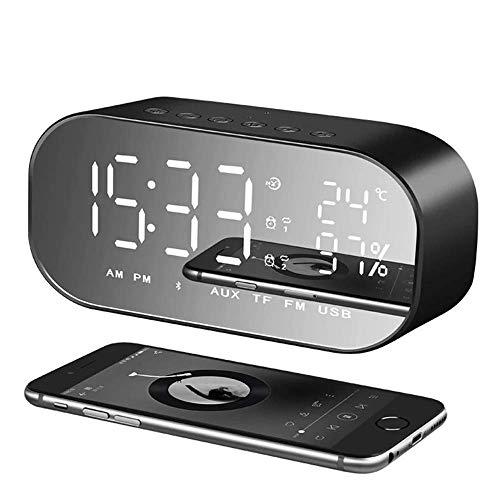 Reloj despertador con radio FM digital inalámbrico, RabbitStorm, altavoz Bluetooth 4.2, pantalla LED de espejo, pantalla de temperatura ambiente, respuesta de teléfono móvil, reloj de alarma dual, hogar, oficina, negro oscuro
