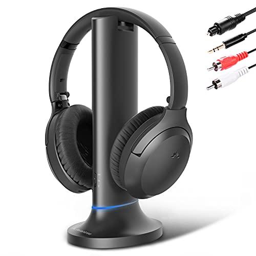 Avantree Audífonos inalámbricos de TV de diálogo mejorado, audio simultáneo a través de barra de sonido y auriculares Bluetooth, sin retraso de audio, batería de 35 horas [modelo 2020]